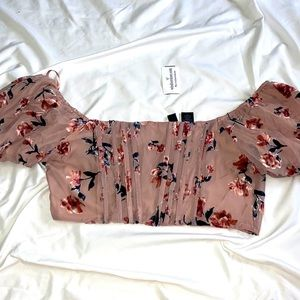 WINDSOR blush floral corset style cropped top